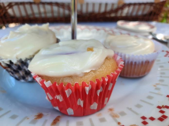 Cupcakes ecológicas de arándanos y crema espesa