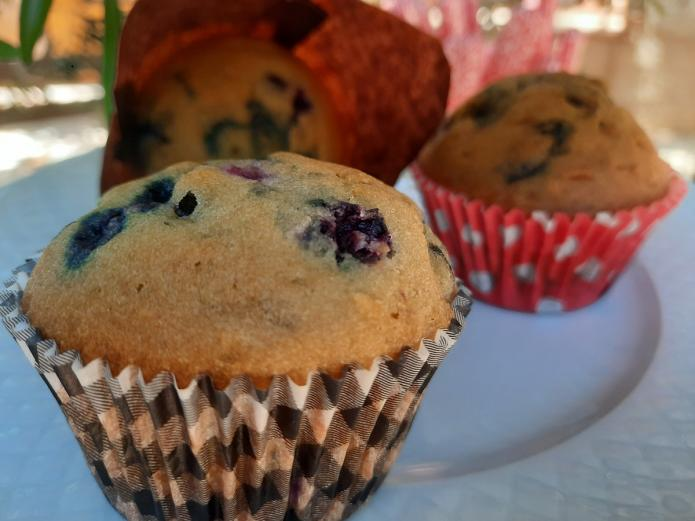 Muffins ecológicas de arándanos bio