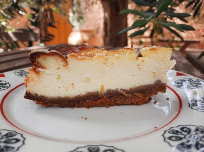 Tarta de queso ecológica con arándanos bio